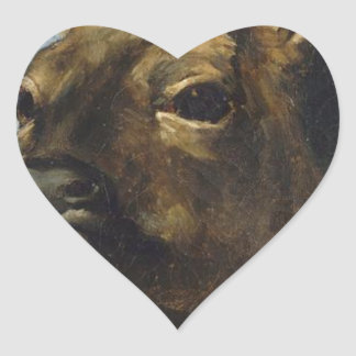 Head of a Young Doe by Gustave Courbet Heart Sticker