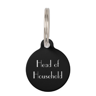 """""""Head of Household"""" Black-and-White Cat Tag Pet Name Tags"""