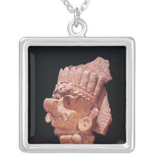 Head of the Mayan corn god, Oaxaca, c.500 AD Silver Plated Necklace