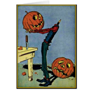 """Headless"" Pumpkin Head Man Vintage Halloween Card"