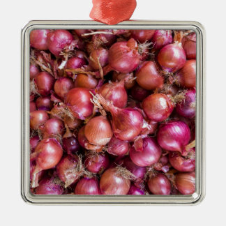Heap of red onions on market Silver-Colored square decoration