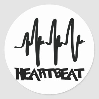 hearbeat ekg love beat round sticker