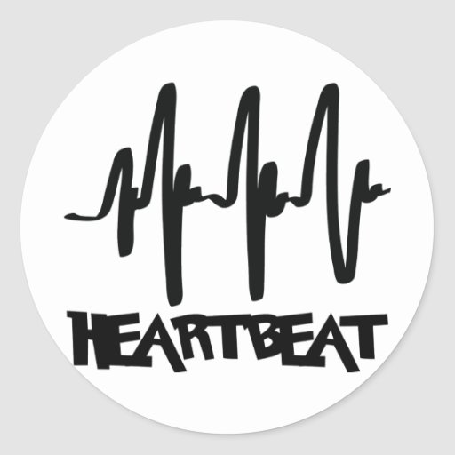 hearbeat ekg love beat round stickers
