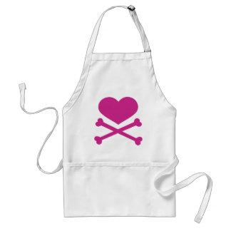 heart and crossbones hot pink apron