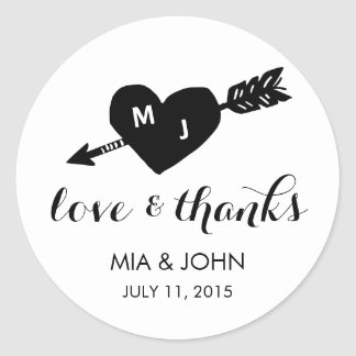 Heart & Arrow Black & White Monogram Thank You Round Sticker