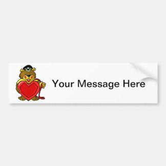 Heart Bear Car Bumper Sticker