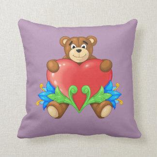 heart Bear Throw Pillows
