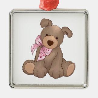 Heart Bear Silver-Colored Square Decoration