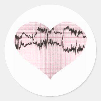 Heart Beat II Round Stickers