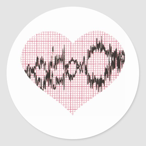 Heart Beat V Round Sticker
