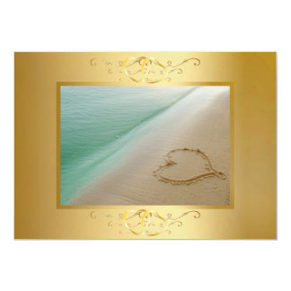 Heart Carved In The Sand Invitation2 13 Cm X 18 Cm Invitation Card