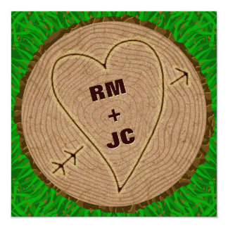 Heart Carved Initials Wood Tree Rings Wedding 13 Cm X 13 Cm Square Invitation Card