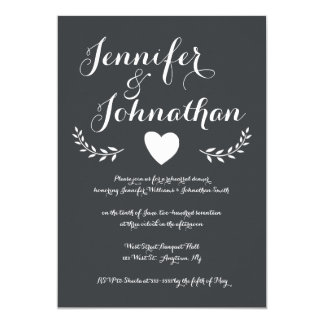Heart chalkboard rehearsal dinner invitations