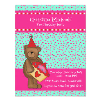 "Heart Cupcake-Bear Classroom Card 4.25"" X 5.5"" Invitation Card"