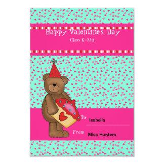 "Heart Cupcake-Bear Classroom Card 3.5"" X 5"" Invitation Card"