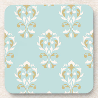 Heart Damask Big Ptn Cream & Gold on Blue Coasters
