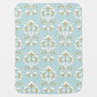 Heart Damask Lg Ptn II Cream & Gold on Blue Baby Blanket