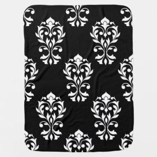 Heart Damask Lg Ptn White on Black Baby Blanket