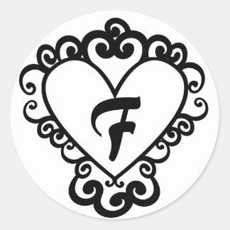 Heart Design Monogram Wedding Sticker