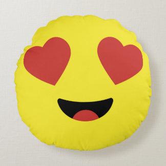 Heart Eyes Emoji / Smiley Round Cushion