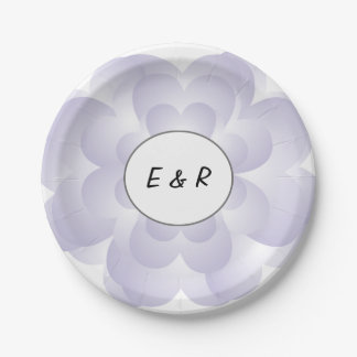Heart Flower Wedding Lavender 7 Inch Paper Plate