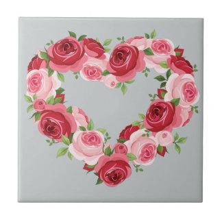 Heart Flower Wreath, Love Ceramic Tiles