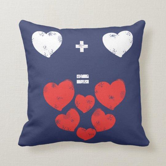 Heart + Heart = Love Funky Throw Pillow Cushion