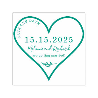 Heart & Heather Custom Names Script Save The Date Self-inking Stamp