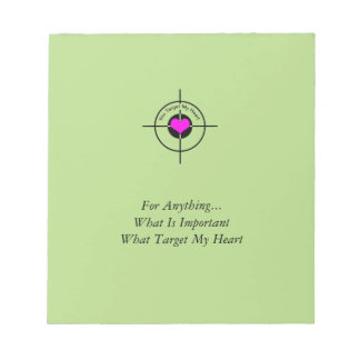 Heart in target notepad