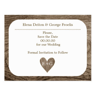 Heart & initials wood rustic wedding Save the Date Postcard