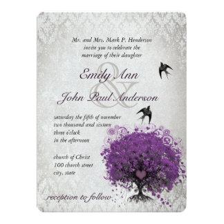 Heart Leaf Eggplant Tree Vintage Birds Wedding 17 Cm X 22 Cm Invitation Card