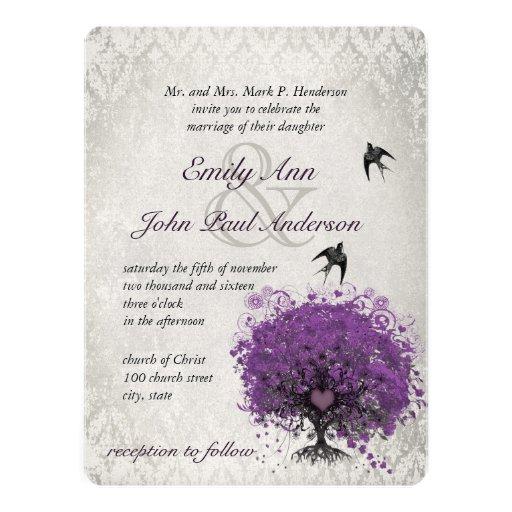 Heart Leaf Eggplant Tree Vintage Birds Wedding Personalized Invitations
