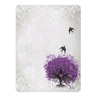 """Heart Leaf Eggplant Tree Vintage Birds Wedding 6.5"""" X 8.75"""" Invitation Card"""
