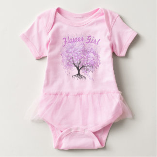 Heart Leaf Lavender Tree Vintage Bird Wedding Baby Bodysuit
