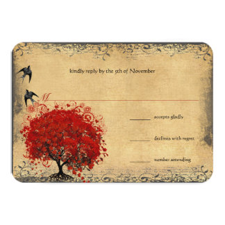 Heart Leaf Red Tree Vintage Birds Wedding RSVP Custom Announcements