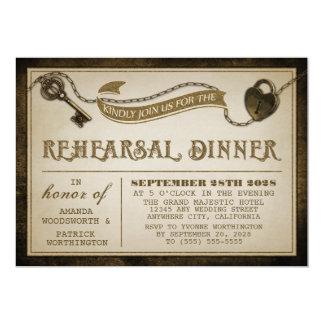 Heart Lock Skeleton Key Rehearsal Dinner Invites
