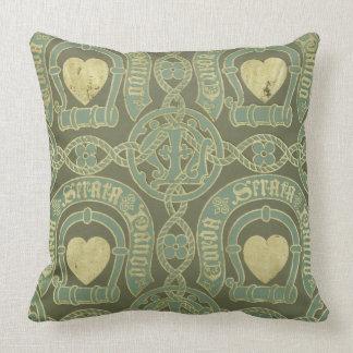 Heart motif ecclesiastical wallpaper design cushion