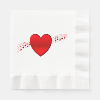 Heart Music Disposable Napkins