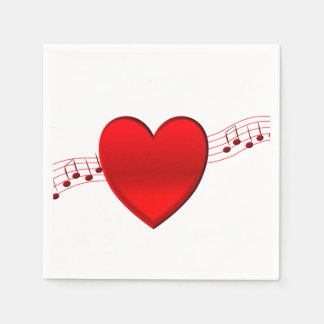 Heart Music Disposable Serviette