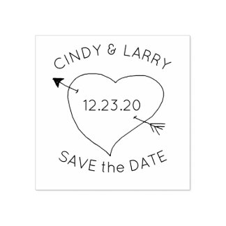 Heart n Arrow Save the Date Cute Wedding Stamp