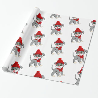 Heart Nose Puppy Christmas Cartoon Wrapping Paper