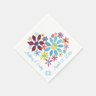 Heart of Flowers Paper Napkin