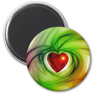 Heart Of Glass 6 Cm Round Magnet