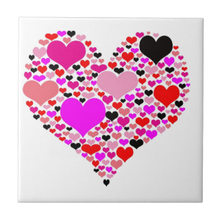 Heart of hearts small square tile