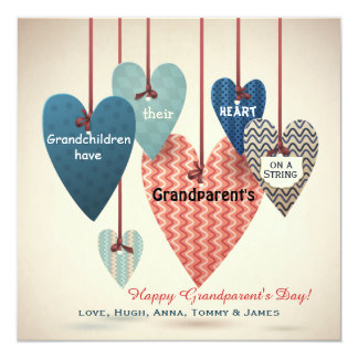 Heart on a String Grandparents Day Card Custom Announcements