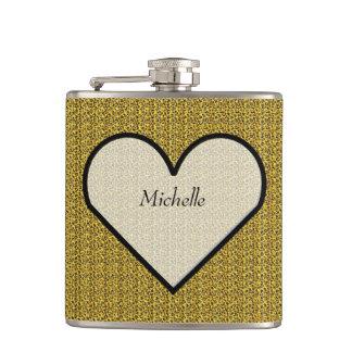 Heart on Golden Leopard Print Flask