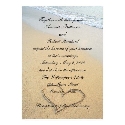 Heart on the Shore Beach Wedding Invitation Invitations