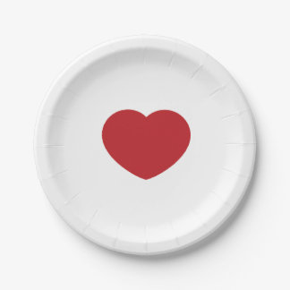 Heart paper plate 7 inch paper plate