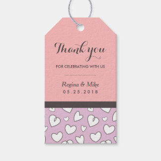 Heart Pattern Doodles Wedding Gift Tag Pink Purple