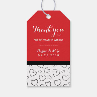 Heart Pattern Love Doodles Wedding Favour Gift Tag